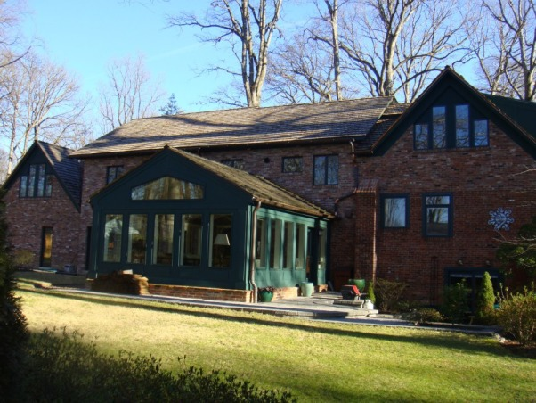 Casual Elegance - Sunroon/Living/Dining, This was our first new construction project.  Room is about 20' deep by 18' wide.  Engineered scissor trusses open the ceiling.  Ceiling is beadboard with faux beams.  Heated floors (electric) with engineered hardwood flooring.  Extensive effort to insure floor tied in seamlesslywith existing house floor without any drop or rise (it is perfect).  Was supposed to be just the living room but we moved the dining table out there too.  , Exterior - note, this is a current view.  As you can see (when compared to the original house photo, we've done quite a bit more to the house.  Cedar shake roofing.  Azek trim.  Pella windows & doors.  Copper gutters., Living Rooms Design