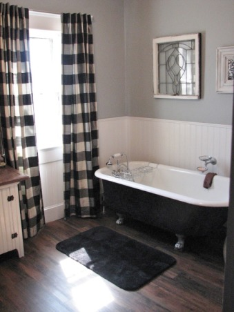 "Bathroom update 100 year old house Clawfoot tub & shower, Took out a 24"" X 6' Closet and added a corner shower., Used peel & stick floor planks. , Bathrooms Design"