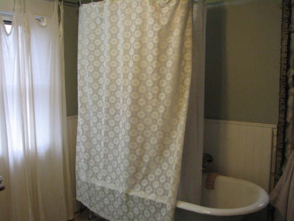 "Bathroom update 100 year old house Clawfoot tub & shower, Took out a 24"" X 6' Closet and added a corner shower., Old bathroom with converted clawfoot tub shower., Bathrooms Design"