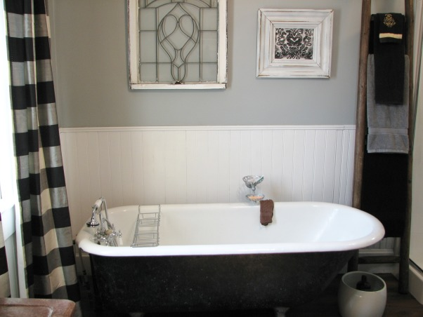 "Bathroom update 100 year old house Clawfoot tub & shower, Took out a 24"" X 6' Closet and added a corner shower., Kept our clawfoot tub., Bathrooms Design"