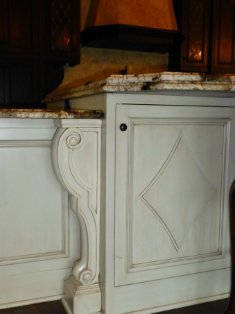Kitchen Remodel, Designed after visiting the Kenwood Inn and Spa in Napa Valley, detail on island, Kitchens Design