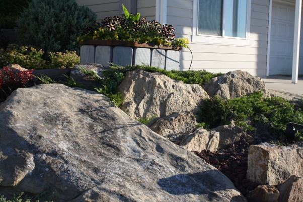 landscape works, photos of projects I have created with rock, metal, wood, and plantings, planter/rocks,Bliss yard, Gardens Design