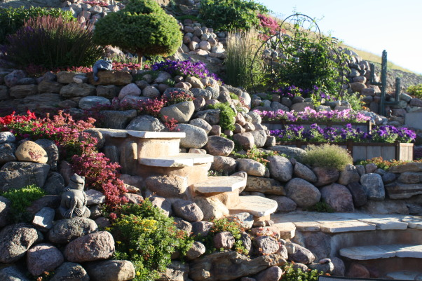 landscape works, photos of projects I have created with rock, metal, wood, and plantings, Stairs, Bliss yard, Gardens Design