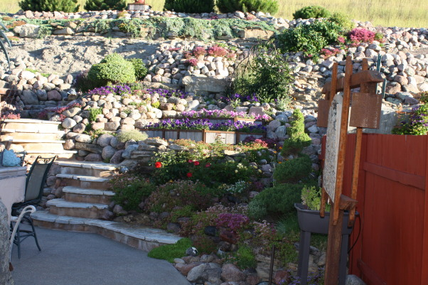 landscape works, photos of projects I have created with rock, metal, wood, and plantings, Bliss yard, Gardens Design