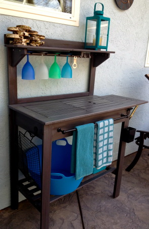 Backyard garden~, Raised beds for vegetables or cutting flowers, a Gnome Tree, flower borders and trees...., Beach Style Home~~  we bought an inexpensive potting bench and added grey stain, glass holder, towel bar, hook, bottle cap opener with cap catcher, etc..   , Gardens Design