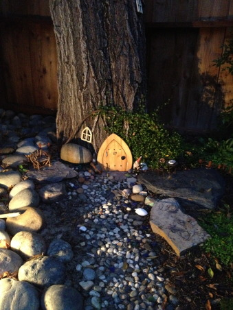 Backyard garden~, Raised beds for vegetables or cutting flowers, a Gnome Tree, flower borders and trees...., Beach Style Home~~  Gnome tree lit with garden light    , Gardens Design
