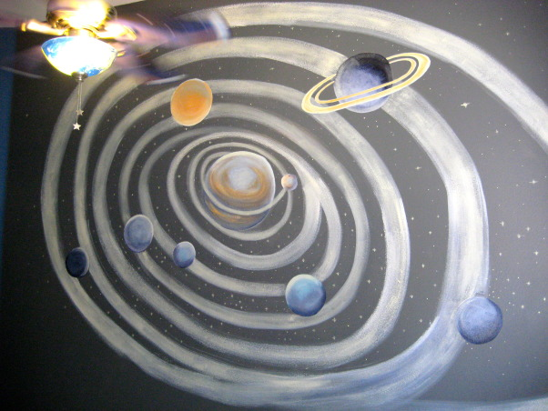 My Grandson's Wall Mural that I painted , He loves outer space, the planets, orbit, and mystery of it all ~~~, Beach Style Home~~  He loves the planets! , Boys' Rooms Design