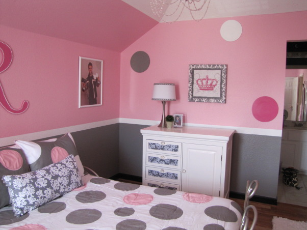 Pretty in Pink, Pink and Gray Girl's Bedroom, The dresser was converted from a changing table to a dresser with some wood filler, fabric and paint!, Girls' Rooms Design
