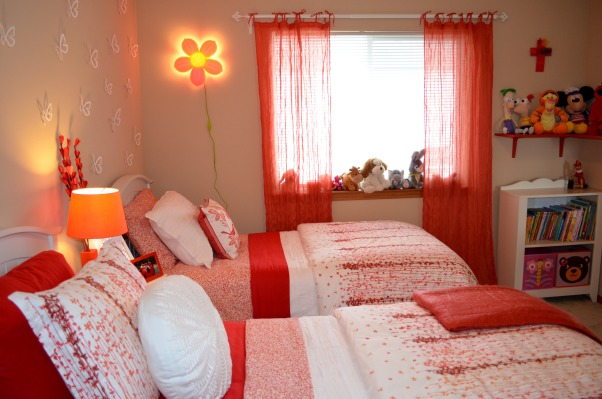 Two Butterflies, I have two beautiful girls sharing one bedroom that needed a makeover. We had fun shopping for new furniture, bedding and accessories. I was on a budget but it turned out to be a really nice room and the girls love it. , Girls' Rooms Design