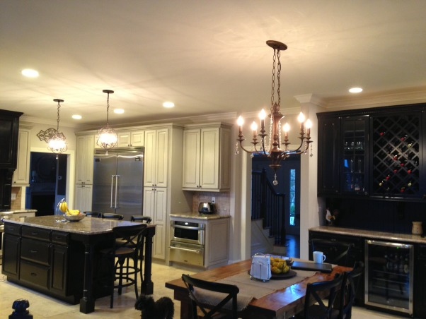 Finally My Dream Kitchen , When we bought this house the bones of the kitchen were good but I hated the color. We had the cabinets painted, ripped out an old desk area to create a bar and added some new light fixtures to create the kitchen of my dreams! , Kitchens Design
