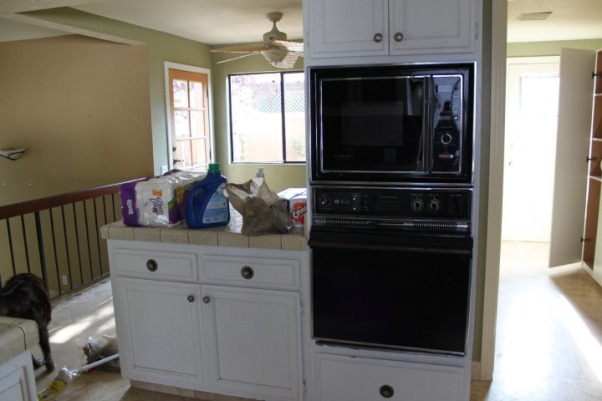 Courtney's Kitchen Reno, We went from drab to fab with this total gut and renovation of our kitchen., Kitchen before with OLD micro/oven combo.             , Kitchens Design