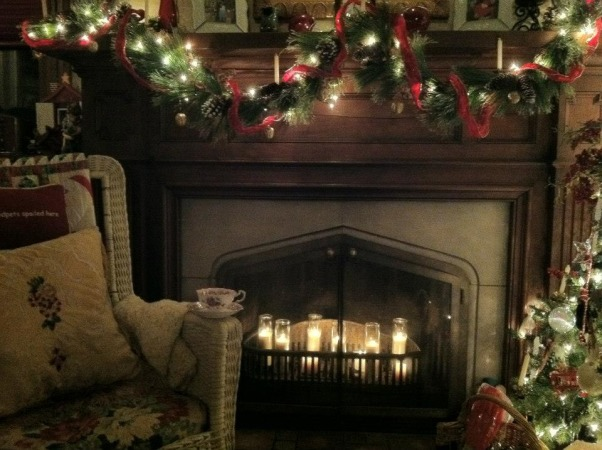 Christmas Memories, My 1930's home where I try to make special Christmas Memories. The ornaments are ones I have collected over the years., Instead of starting a fire...use candles, Holidays Design