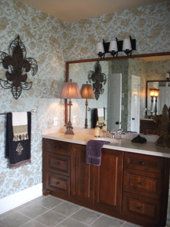 Traditional Gold Paisley Master Bathroom, ***Lighting is not my taste and will be changed out, hopefully sooner than later!  I posted this last year, made some changes and am posting again.  Enjoy looking! , Of course every room in the house needs some Fleur De Lis!!!!    , Bathrooms Design