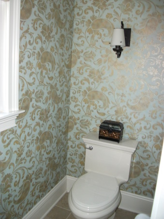 Traditional Gold Paisley Master Bathroom, ***Lighting is not my taste and will be changed out, hopefully sooner than later!  I posted this last year, made some changes and am posting again.  Enjoy looking! , Blue/Green and Paisley wallpaper.  , Bathrooms Design