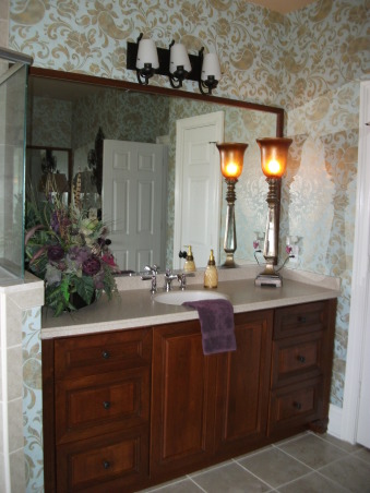 Traditional Gold Paisley Master Bathroom, ***Lighting is not my taste and will be changed out, hopefully sooner than later!  I posted this last year, made some changes and am posting again.  Enjoy looking! , 2 cherry vanities/corian counter that mirror eachother.  I used a large scale lamp and added a hint of purple in here *fav color* with my floral.  , Bathrooms Design