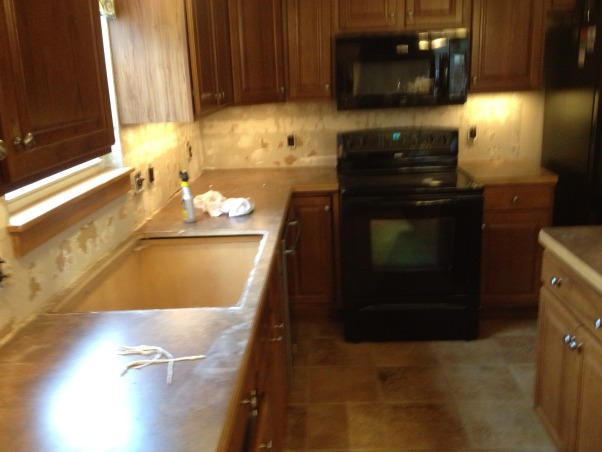 Weekend Reno!, We bought our home a year ago, and the kitchen has been a heel since day one. The countertops were nice, but didn't go with the cherry cabinets. The backsplash matched the floor, and looked dirty always. Now, it's beautiful., During , Kitchens Design