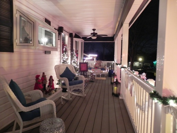 Front porch for all seasons, We just added on a 40ft front porch and a room addition ! , Christmas front porch , Home Exterior Design