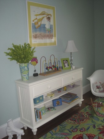 Colorful guest room, I wanted a guest room that puts a smile on all who enter. I found this brightly colored Company C rug for starters and the Quincy bed from Ethan Allen. Baby bassinet is a family heirloom. Rocker was found on Amazon.  , Purchased this narrow bookcase from an unfinished furniture store and primed and painted it myself. Doesn't take up any valuable floor space due to its narrow width.  , Bedrooms Design