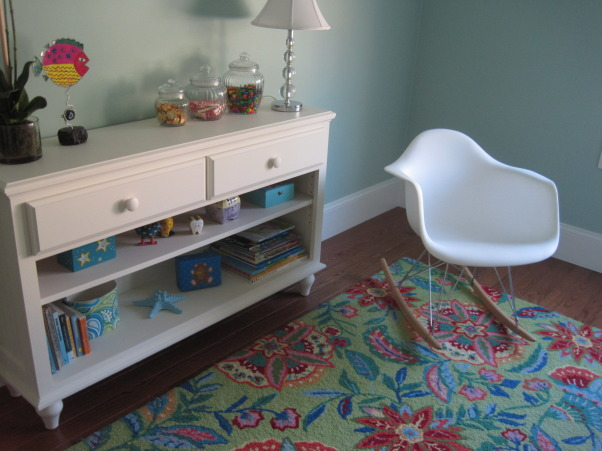 Colorful guest room, I wanted a guest room that puts a smile on all who enter. I found this brightly colored Company C rug for starters and the Quincy bed from Ethan Allen. Baby bassinet is a family heirloom. Rocker was found on Amazon.  , Modern rocker that sits low but is quite comfy, Bedrooms Design