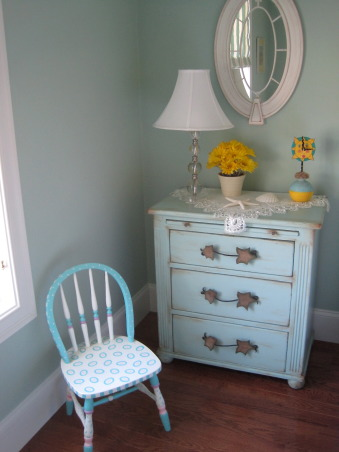 Colorful guest room, I wanted a guest room that puts a smile on all who enter. I found this brightly colored Company C rug for starters and the Quincy bed from Ethan Allen. Baby bassinet is a family heirloom. Rocker was found on Amazon.  , I handpainted the small chest and also the childs chair, Bedrooms Design