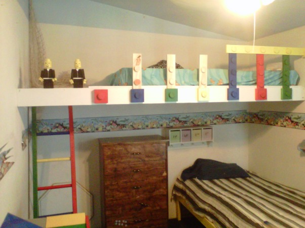 LEGO, My Grandssons B-Gift was a new bedroom, Top bunk is almost done., Boys' Rooms Design