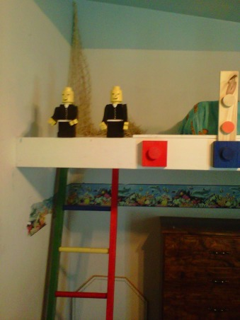 LEGO, My Grandssons B-Gift was a new bedroom, Top bunk access, Lego men from scrap wood , Boys' Rooms Design