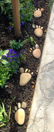 "Backyard garden~, Raised beds for vegetables or cutting flowers, a Gnome Tree, flower borders and trees...., I made ""Barefoot Rocks""  for my garden.... , Gardens Design"