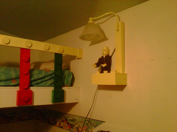 LEGO, My Grandssons B-Gift was a new bedroom, The other end of the top bunk featuring the handmade lamp using scraps and an old bathroom light fixture. , Boys' Rooms Design