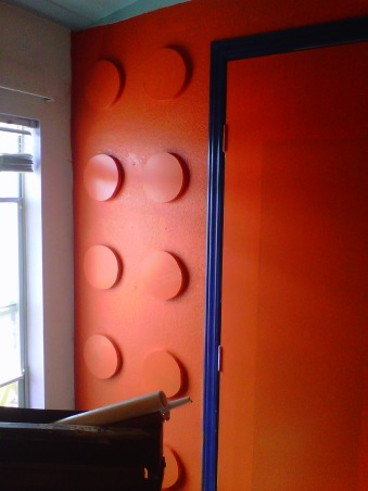 LEGO, My Grandssons B-Gift was a new bedroom, The orange Lego wall., Boys' Rooms Design