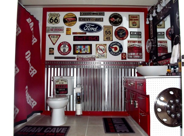 Vintage auto themed bathroom, Basement bath for my teen boys done in a garage / vintage auto theme, This is a basement bathroom shared by 3 teen boys, all big car lovers so we went with a vintage auto garage theme. Pegboard/sheet metal feature  wall., Bathrooms Design