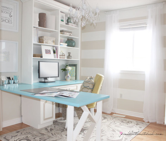 Home Office Makeover , Converted an unused bedroom into an home office.  I infused this room with lots of bright, soft colours.  The patterns, textures and colours used in this room help to create an energetic and unique feminine feel.  , AFTER PICTURE.  Home office Makeover.  View blog on www.pinklittlenotebook.com , Home Offices Design