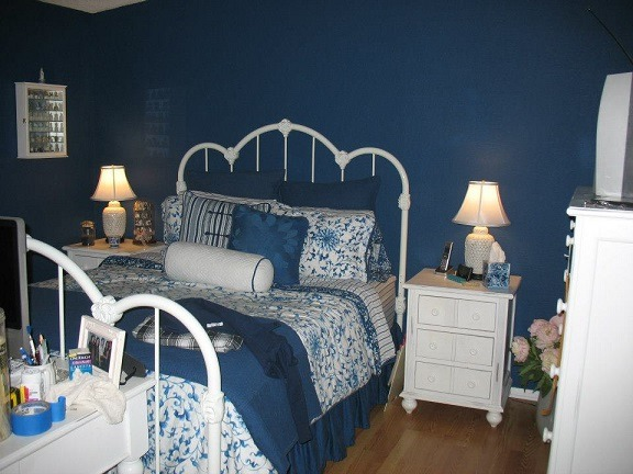 Blue Bedroom, My redecorated blue bedroom.  Calm, peaceful, serene blue color.  Filled with country, asian inspired antique pieces. , I love the blue bedding.  Purchased at a popular department store.   , Bedrooms Design