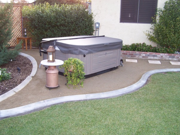 "Space for the spa, An area was created for a new hot tub to look like it ""belonged"" in the yard., We were very happy with the ""fit"" into our back yard. , Yards Design"