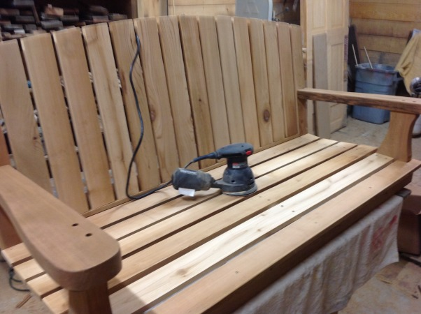 Mother's Day project, My wife has wanted a porch swing for several years so I surprised her by building her one this Mother's Day.  It is made of redwood and cedar and painted with a chalk paint, then waxed for protection and color depth., Final sanding before using chalk paint  and waxing for protection., Porches Design