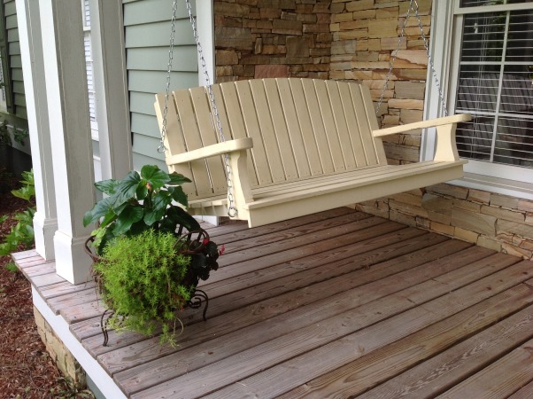 Mother's Day project, My wife has wanted a porch swing for several years so I surprised her by building her one this Mother's Day.  It is made of redwood and cedar and painted with a chalk paint, then waxed for protection and color depth., Redwood and cedar porch swing., Porches Design