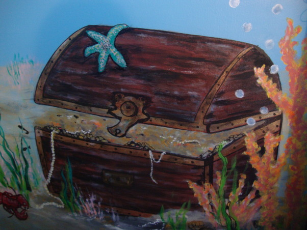 Under the sea, This is my grandson Gavin's new under the sea bedroom. He loves sharks so you can see there are a lot of different kinds of sharks. He kept asking me to add more and more fish till I finally had to tell him that he needed a bigger room. LOL, Oh boy a treasure chest, Boys' Rooms Design