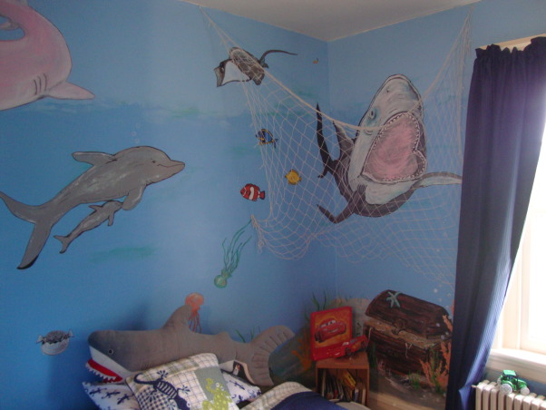 Under the sea, This is my grandson Gavin's new under the sea bedroom. He loves sharks so you can see there are a lot of different kinds of sharks. He kept asking me to add more and more fish till I finally had to tell him that he needed a bigger room. LOL, Is that Jaws?, Boys' Rooms Design