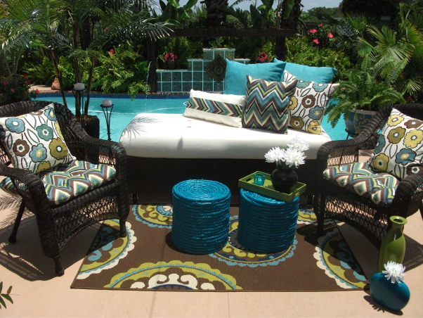 Poolside Patio Lounge with DIY Faux Wicker Daybed, DIY Outdoor/Poolside Makeover, DIY Outdoor Poolside Lounge Area w/ Faux Wicker Daybed; Sewed Cover for cushion and pillows; Painted old baskets from our attic, turned them over to use as tables; Grounded the space w/ a colorful outdoor medallion rug.     , Patios & Decks Design