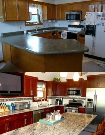 "Floor to Ceiling Transformation, Originally, a G-shaped kitchen that basically divided my kitchen in half & only used 1/2 the space. I have totally gutted it, designed a new layout that would utilize the entire space. Created a lot more storage, along with more convenient functions, like pull out drawers, single basin sink & taller faucet. New floor, more lighting that I installed myself. I had a very small budget but I feel I got a ""Bang For Your Bucks"". And even though I've designed every inch of it and had a pretty good idea of how everything would look, the finished project actually turned out much more beautiful than I ever imagined. This has been a very rewarding experience.  , Before & after, replaced a peninsula that used to cut the room in half, with cabinets that now extend the length of room. The new cabinets are cherry, shaker style. Simple, clean lines. I used to have cereal boxes on top of fridge. They're pretty much in the same place, only you can't see them.  Huge improvement!                                                , Kitchens Design"