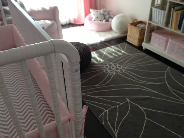 Grey pink elephants, A simple, soothing nursery featuring a pink and grey color scheme. A mixture of textiles creates a cozy space. , Nurseries Design