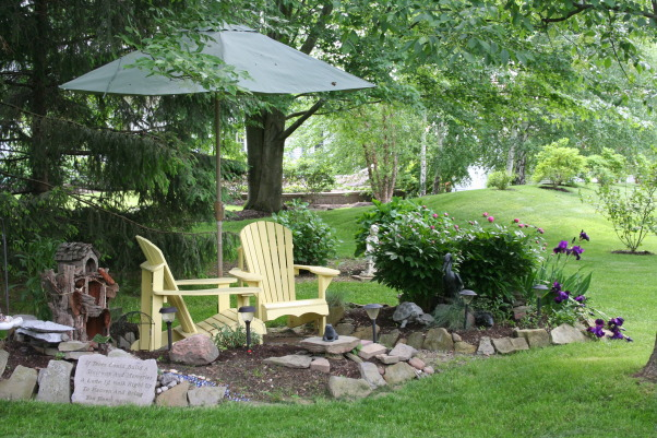 Today's walk ..., My little slice of heaven!, My new little Adirondack garden.  Added an umbrella this year. That, combines with the single petal peony and deep purple iris mixed in with some Sweet William , makes for a nice spot to rest., Gardens Design