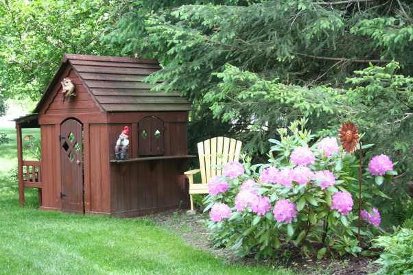 Today's walk ..., My little slice of heaven!, The playhouse is being well used by the grandchildren. The rhododendrons are so lovely this year., Gardens Design
