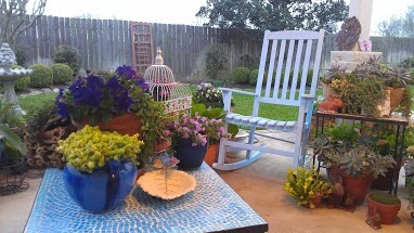 Early Spring, Cabbage blossems & Patio, Gardens Design