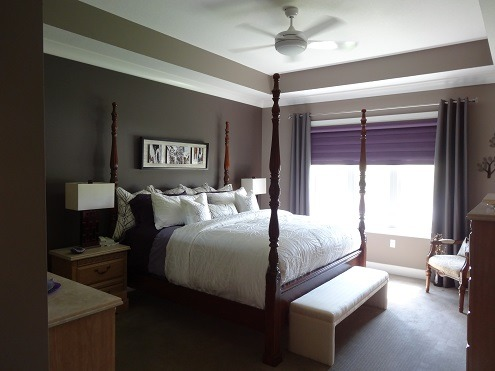 Textured Master Bedroom, Nice and dark for sleeping.  Beautifully bright when you open the Royal Purple Blinds. Matching purple sheets and purple glass lamps., Bedrooms Design