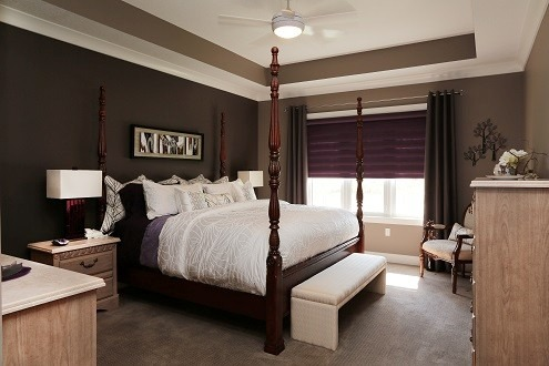 Textured Master Bedroom, Nice and dark for sleeping.  Beautifully bright when you open the Royal Purple Blinds. Matching purple sheets and purple glass lamps., A Master Bedroom that is great to sleep in. , Bedrooms Design