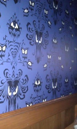 Haunted Mansion theater/ Pirate bar, I have turned an unfinished basement into a Disney Haunted Mansion theater and a Pirates of the Caribbean Bar.  Still more work to be done...but it's coming along., Haunted mansion wallpaper and wainscoting, Media Rooms Design