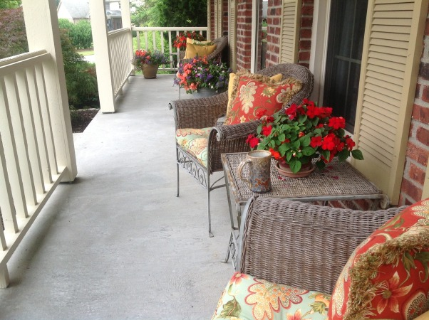 Spring has Sprung!!, replaced cushions and pillows on porch this year and finished planting pots today.  So happy the weather is finally nice!!  Added new photos in June - Flowers are in full bloom now. , Porches Design