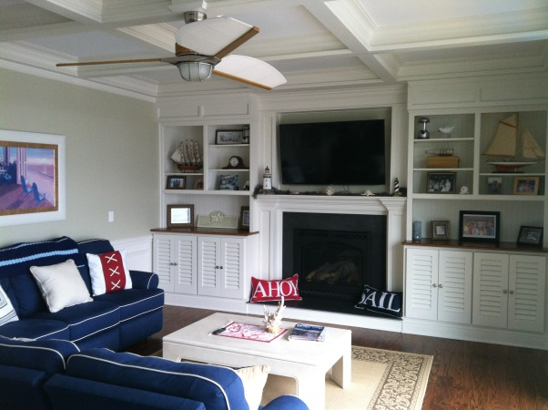 Nautical Themed Family Room, The main living area of our Bayside Cottage at the NJ shore decorated with nautical accents., Living Rooms Design