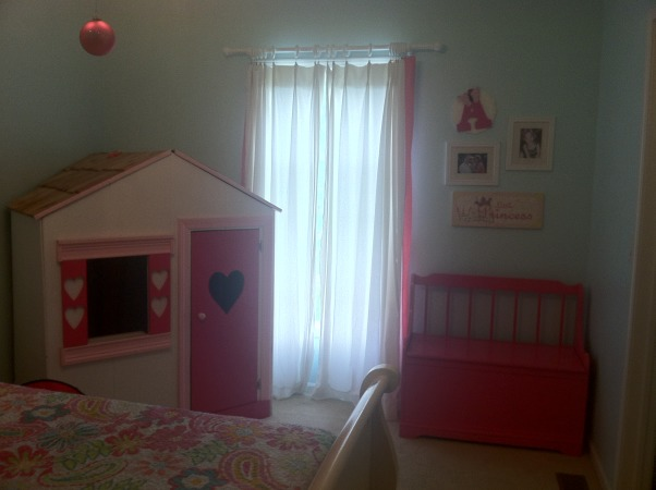 My daughters room :), My little girls room.  Loved the way it turned out!  Ligh turquoise walls with pottery barn bright pink accents., She loves her playhouse, Girls' Rooms Design