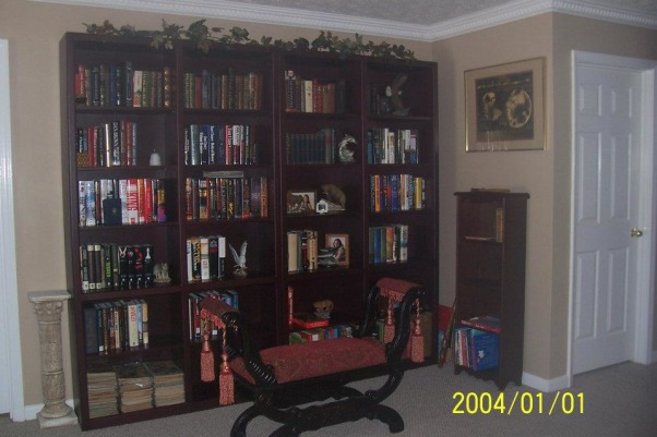 library, This was a common area between our bedrooms, this ie how we finished it., Roewood bookshelves at the far end of the library, Other Spaces Design